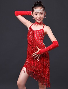 Latin Dance Dress / Children's Performance Polyester Rhinestones / Tassel Dress 4 Pieces