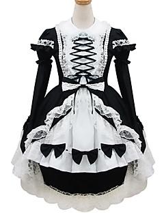 svartvit polyester piga kostym type18