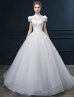 웨딩 드레스 - 아이보리(색상은 모니터에 따라 다를 수 있음) 볼 가운 바닥 길이 하이넥 튤