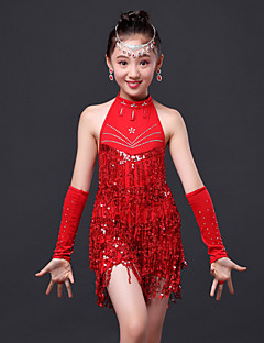 Latin Dance Dress / Children's Performance Fashion Polyester Rhinestones / Tassel Dress 3 Pieces