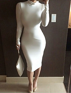 Women's Sexy Bodycon Casual Party Work Turtleneck Long Sleeve Plus Size Dress (S-XXL)