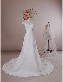 A-line Wedding Dress - Ivory Chapel Train V-neck Lace / Satin / Tulle
