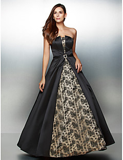 TS Couture Formal Evening Dress - Vintage Inspired A-line Strapless Ankle-length Lace Satin with Lace