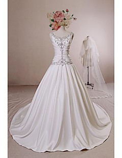 Ball Gown Wedding Dress - Ivory Chapel Train Straps Satin