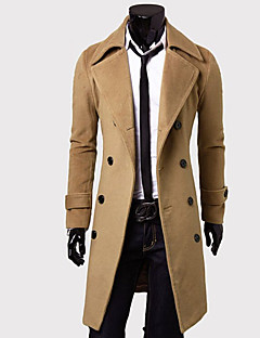 Men's Solid Casual Coat,Cotton Blend Long Sleeve-Black / Brown / Gray / Tan