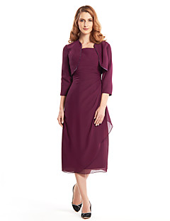 Sheath / Column Mother of the Bride Dress Tea-length 3/4 Length Sleeve Chiffon with Beading