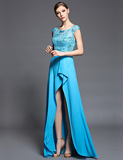 Formal Evening Dress Sheath / Column Jewel Asymmetrical Charmeuse / Matte Satin / Satin Chiffon with Beading