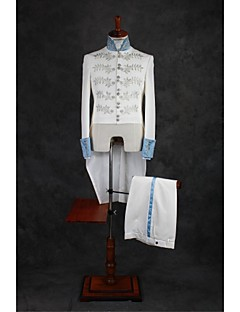 Suits Tailored Fit Mandarin Collar Single Breasted More-Button Polyester Patterns 3 Pieces Ivory None Double (Two) White Double (Two)