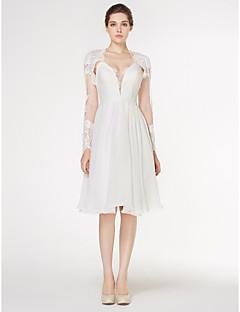 신부 lanting A 라인 웨딩 드레스 무릎 길이의 연인 쉬폰 / 레이스