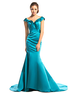 TS Couture® Formal Evening Dress - Dark Green Trumpet/Mermaid V-neck Sweep/Brush Train Satin