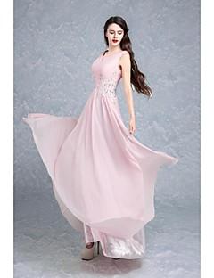 Fiesta formal Vestido - Rosa Caramelo Salón Hasta el Suelo - Cuello en V Raso