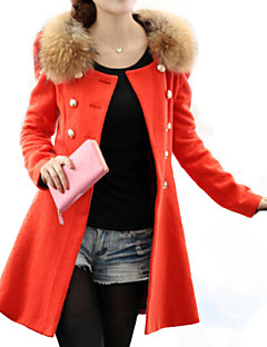 Women's Coat,Patchwork Stand Long Sleeve Winter Blue / Red / Black / Orange Wool / Others Medium