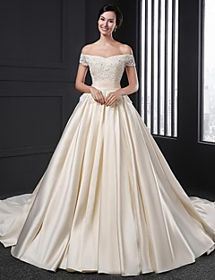 A-line Wedding Dress Chapel Train Off-the-shoulder Satin with Flower / Appliques