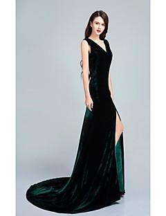 Vestido - Verde Escuro Festa Formal Sereia Decote V Cauda Escova Veludo