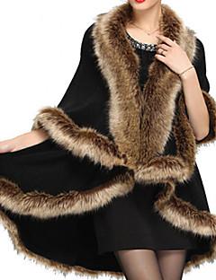 Dames Vintage Winter Cloak / Capes,Feestje/cocktail Effen Imitatiebont