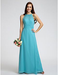 Lanting Bride® Ankle-length Georgette Bridesmaid Dress Sheath / Column Jewel with Ruching