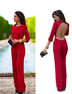 Polyester / Spandex / Katoen / Overige - Micro-elastisch - Dun - Vrouwen - Vintage / Sexy / Werk - Jumpsuits - Driekwart mouw