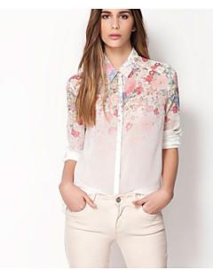 Women's Floral White Shirt , Shirt Collar Long Sleeve