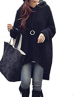 Women's Loose Asymmetric Hooded Long Sweater