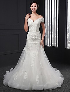 Sheath/Column Wedding Dress - Ivory Chapel Train V-neck Lace