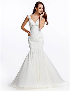 Lanting Fit & Flare Wedding Dress - Ivory Sweep/Brush Train V-neck Chiffon
