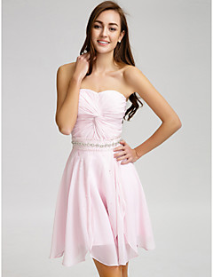 Lanting Bride® Short / Mini Chiffon Bridesmaid Dress A-line Strapless with Beading / Crystal Detailing / Sash / Ribbon / Criss Cross