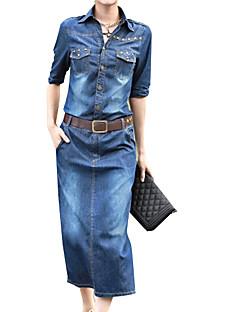 Vestito Da donna-Casual Medio Manica lunga Blu Cotone Primavera / Autunno A vita bassa Media elasticità Medio spessore