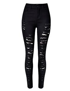 Damen Skinny Jeans Hose einfarbig Hohe Hüfthöhe Baumwolle Micro-elastisch Herbst