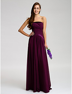 Floor-length Chiffon Bridesmaid Dress - Grape Sheath/Column Strapless
