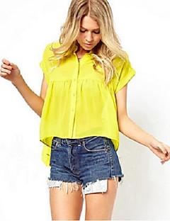 Damen Solide Einfach Lässig/Alltäglich Hemd,Hemdkragen Sommer Kurzarm Gelb Andere Dünn