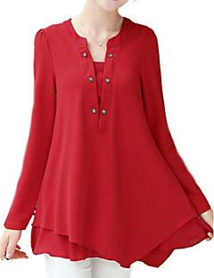 De las mujeres Un Color Camiseta-Escote en Pico-Nailon-Manga Larga