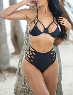 Women's Solid Hollow Out Sexy Push-up Bandage Halter Bikinis