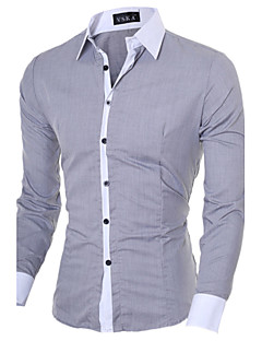 Men's Casual/Daily Simple Spring Fall Shirt,Solid Long Sleeves Cotton Polyester