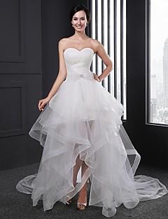 A-라인 웨딩 드레스 비대칭 스윗하트 오간자 와 리본