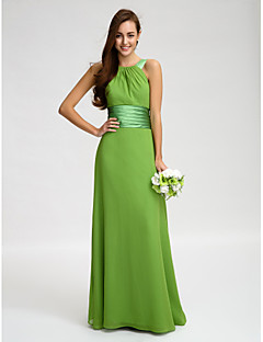 Lanting Bride® Floor-length Chiffon Bridesmaid Dress Sheath / Column Straps with Sash / Ribbon / Ruching
