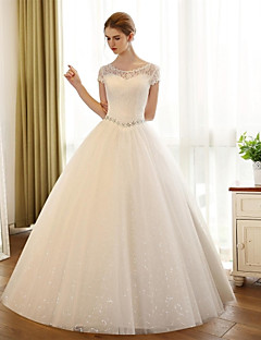 A-line Wedding Dress Floor-length Scoop Lace / Satin / Tulle with Appliques / Lace
