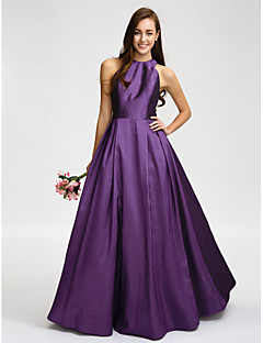 Lanting Bride Floor-length Taffeta Bridesmaid Dress A-line Jewel with Sash / Ribbon