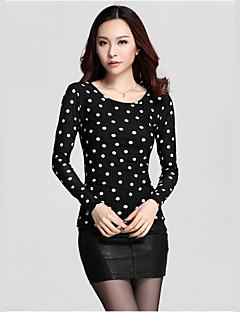 Vrouwen Eenvoudig Herfst T-shirt,Casual/Dagelijks Polka dot Ronde hals Lange mouw Zwart Nylon / Spandex Dik