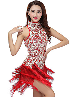 Latin Dance Dresses Women's Performance Polyester Sequined Tassel(s) 1 Piece Dress 93