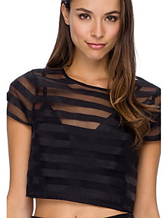 Ronde hals - Polyester - Netstof - Vrouwen - Blouse - Korte mouw