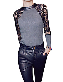 Women's Lace Lace Black/Gray T-shirt,Sexy Crew Neck Long Sleeve Splicing