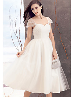 Lanting A-line Wedding Dress - Ivory Tea-length Queen Anne Tulle
