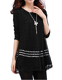 Women's Solid White/Black Blouse, Plus Sizes Round Neck Long Sleeve Lace Crochet