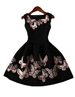 Women's Party/Cocktail Sexy Skater Dress,Print Round Neck Above Knee Sleeveless Black Polyester Summer