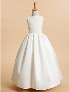 LAN TING BRIDE A-line Ankle-length Flower Girl Dress - Lace Satin Jewel with Lace