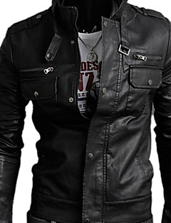 Men's Casual Leather Jacket, Black Brown Long Sleeve