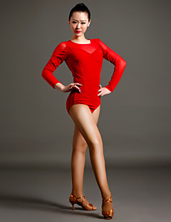 High-quality Velvet and Tulle Latin Dance Leotards for Women's Performance(More Colors)