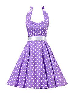 Women's Purple White Polka Dot Dress , Vintage Halter 50s Rockabilly Swing Dress