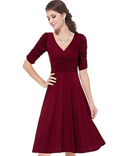 Summer Women's Sexy V Neck Pleats Accept Waist Solid Color 1/2 Sleeve OL Slim Dress