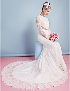 Lan Ting Trumpet/Mermaid Wedding Dress - Ivory Chapel Train Jewel Lace